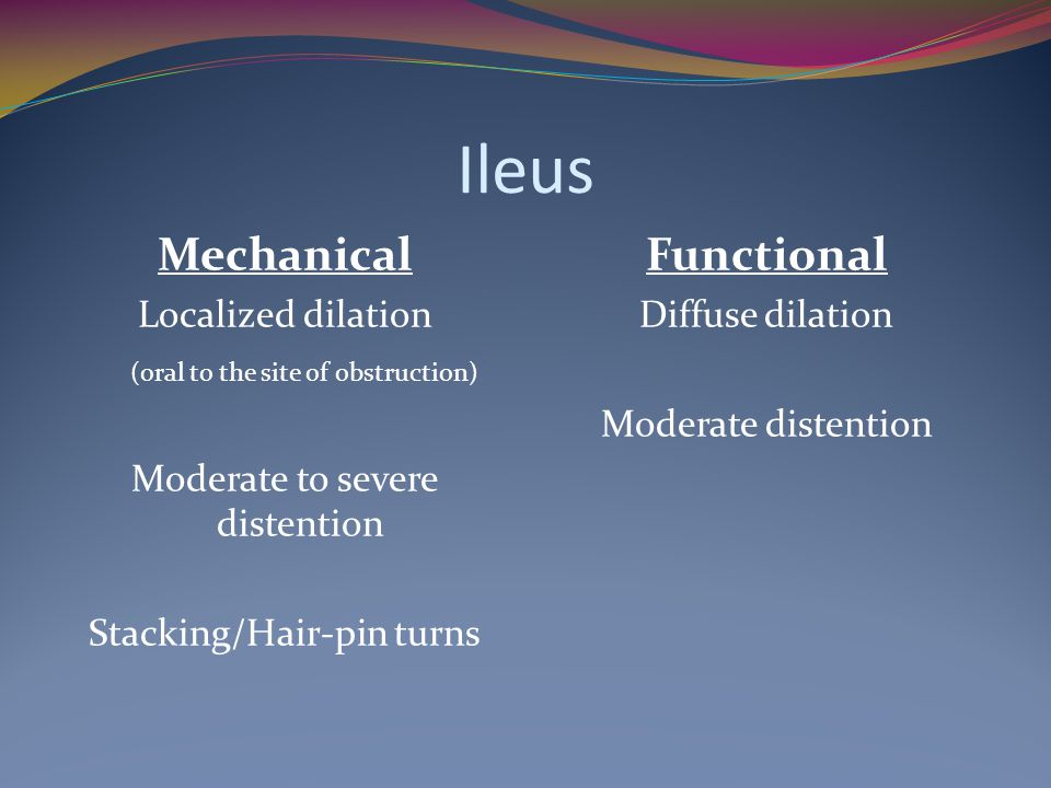 Ileus Mechanical Functional Localized dilation