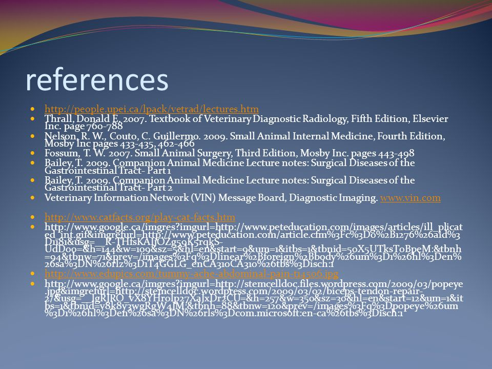 references http://people.upei.ca/lpack/vetrad/lectures.htm