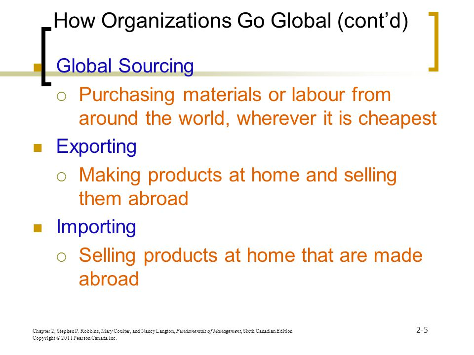 How Organizations Go Global (cont'd)