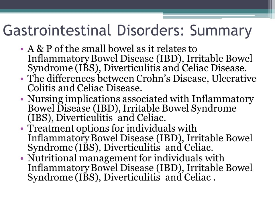 Gastrointestinal Disorders: Summary
