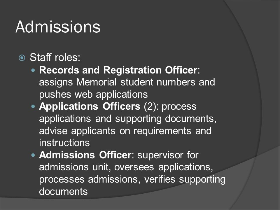 Admissions Staff roles: