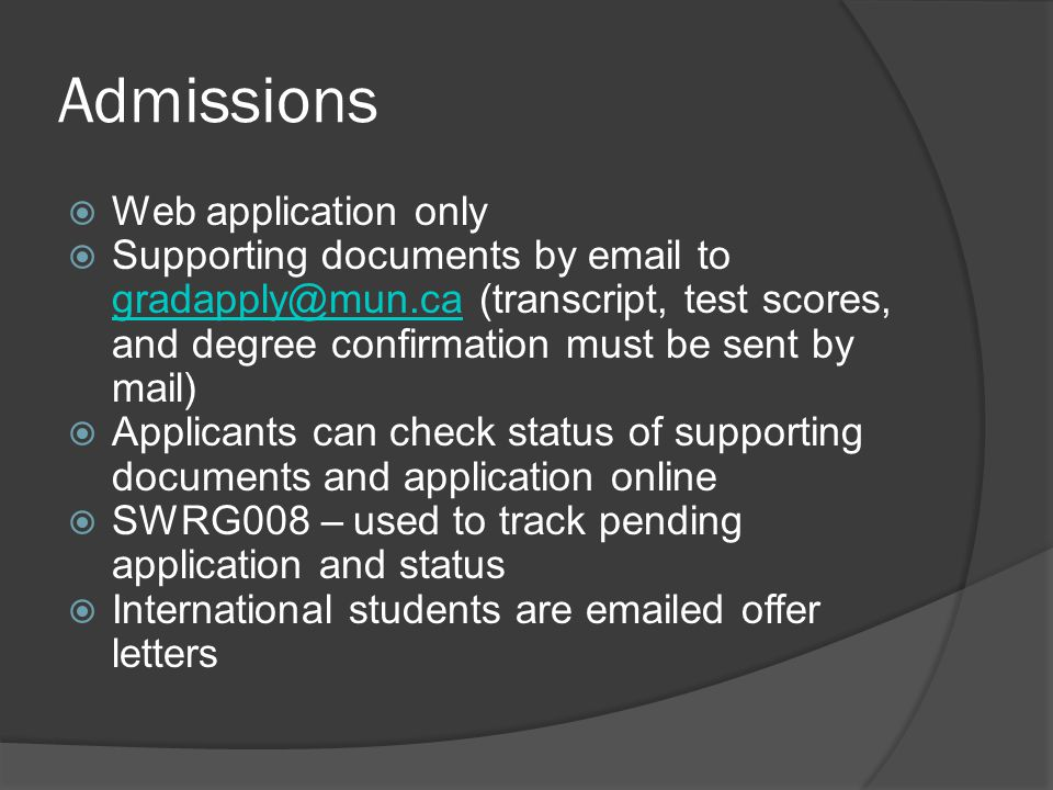 Admissions Web application only
