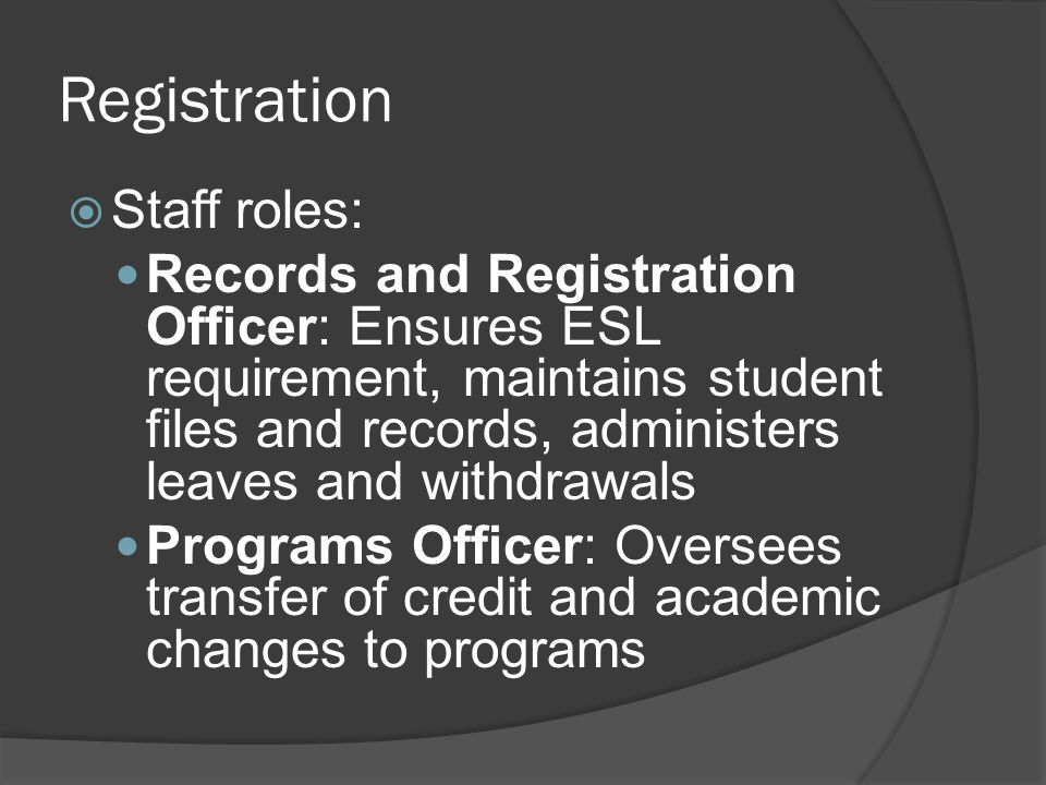 Registration Staff roles: