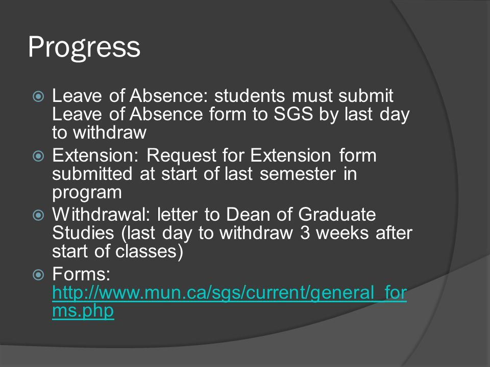 Progress Leave of Absence: students must submit Leave of Absence form to SGS by last day to withdraw.