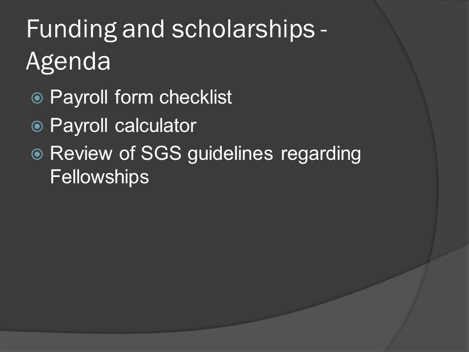 Funding and scholarships - Agenda