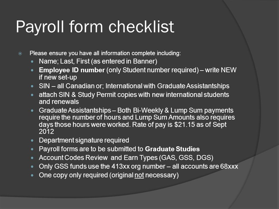 Payroll form checklist