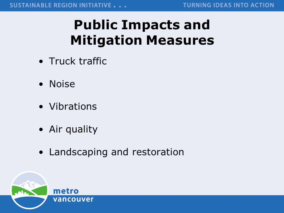 Public Impacts and Mitigation Measures