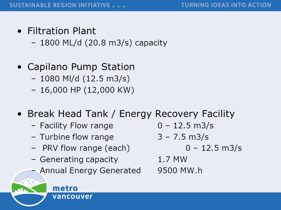 Break Head Tank / Energy Recovery Facility