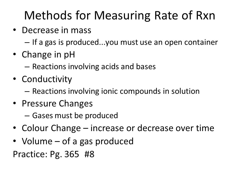 Methods for Measuring Rate of Rxn