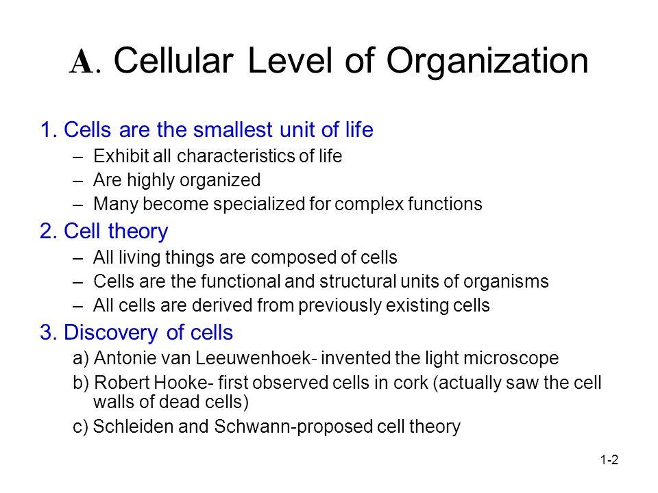 A. Cellular Level of Organization