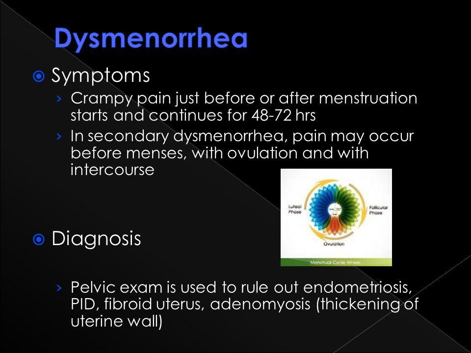 Dysmenorrhea Symptoms Diagnosis