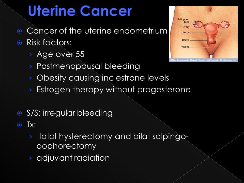 Uterine Cancer Cancer of the uterine endometrium Risk factors: