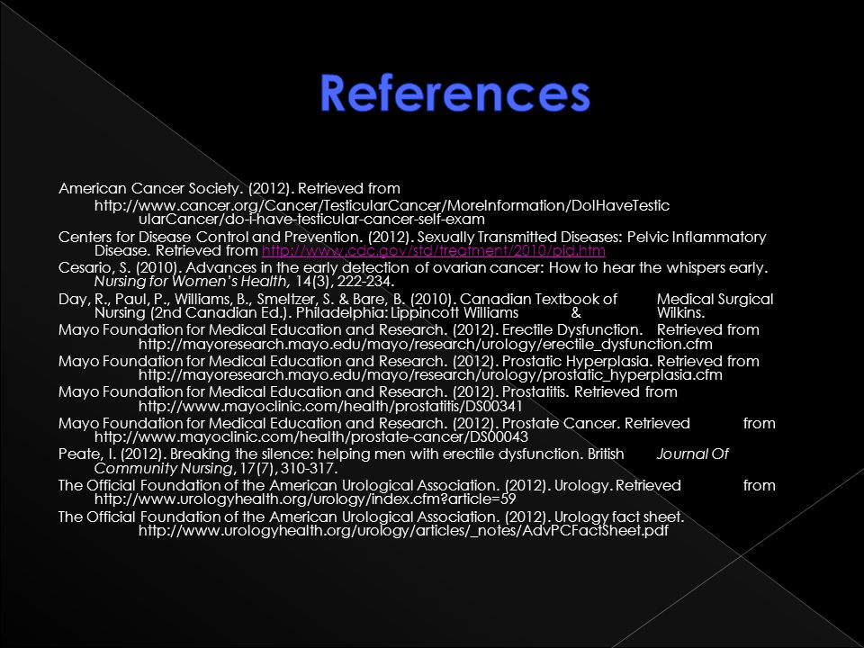 References American Cancer Society. (2012). Retrieved from