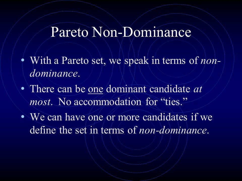 Pareto Non-Dominance With a Pareto set, we speak in terms of non-dominance.