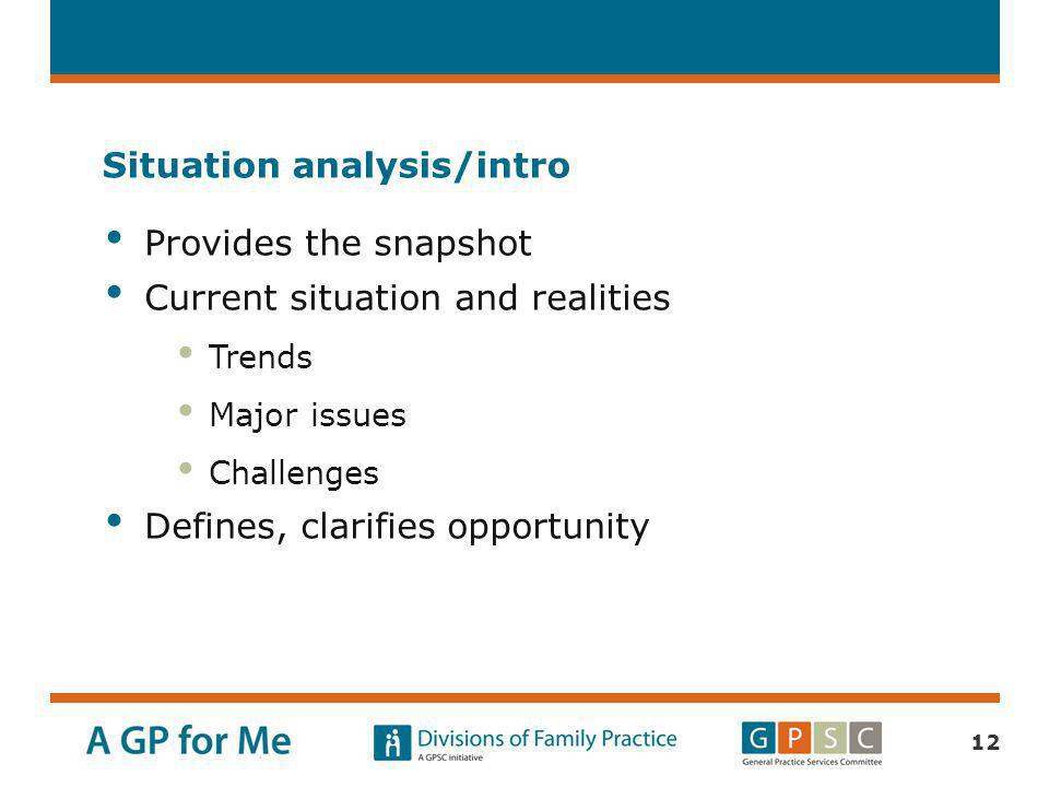Situation analysis/intro