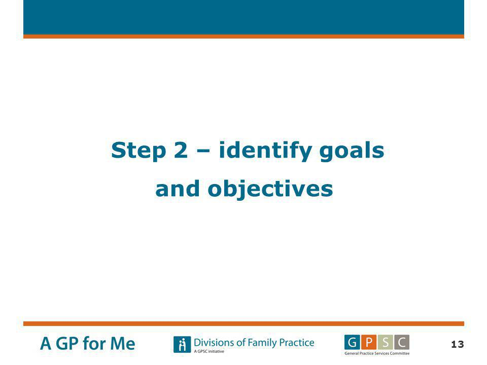 Step 2 – identify goals and objectives
