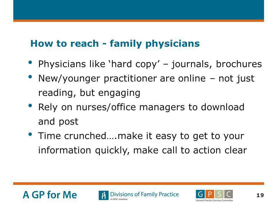 How to reach - family physicians