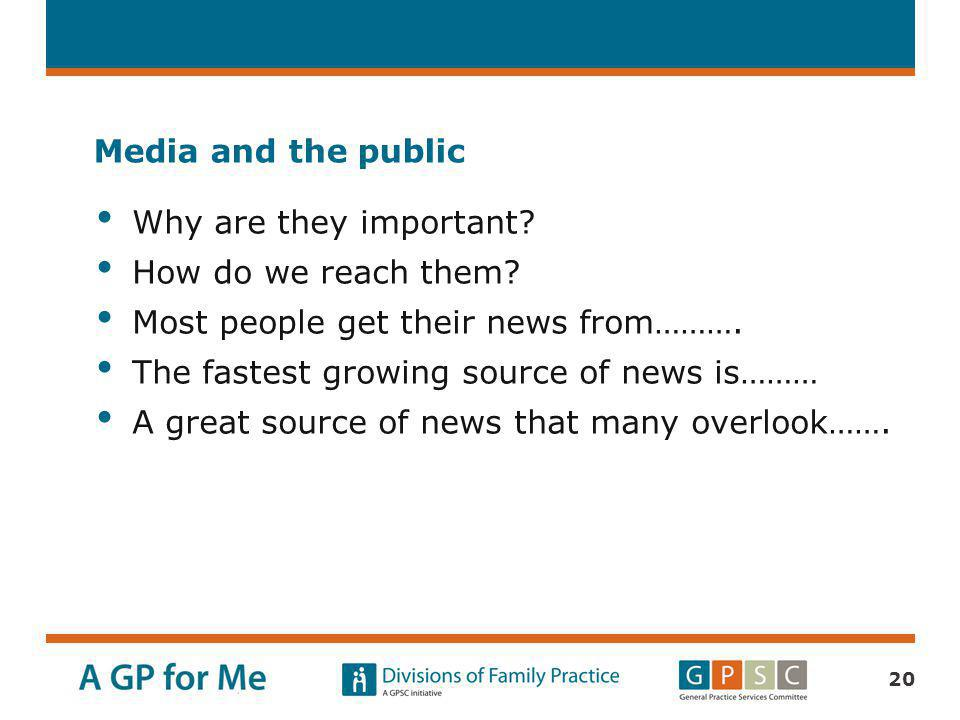 Media and the public Why are they important How do we reach them Most people get their news from……….