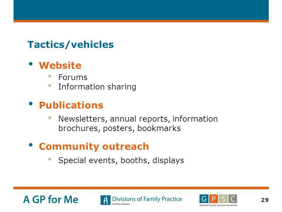 Tactics/vehicles Website Publications Community outreach Forums