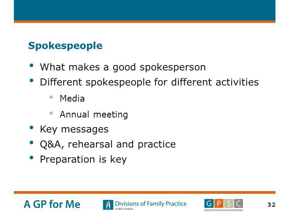 What makes a good spokesperson