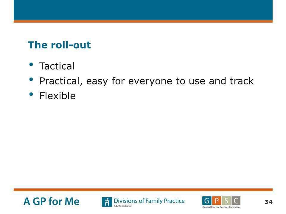 The roll-out Tactical Practical, easy for everyone to use and track Flexible
