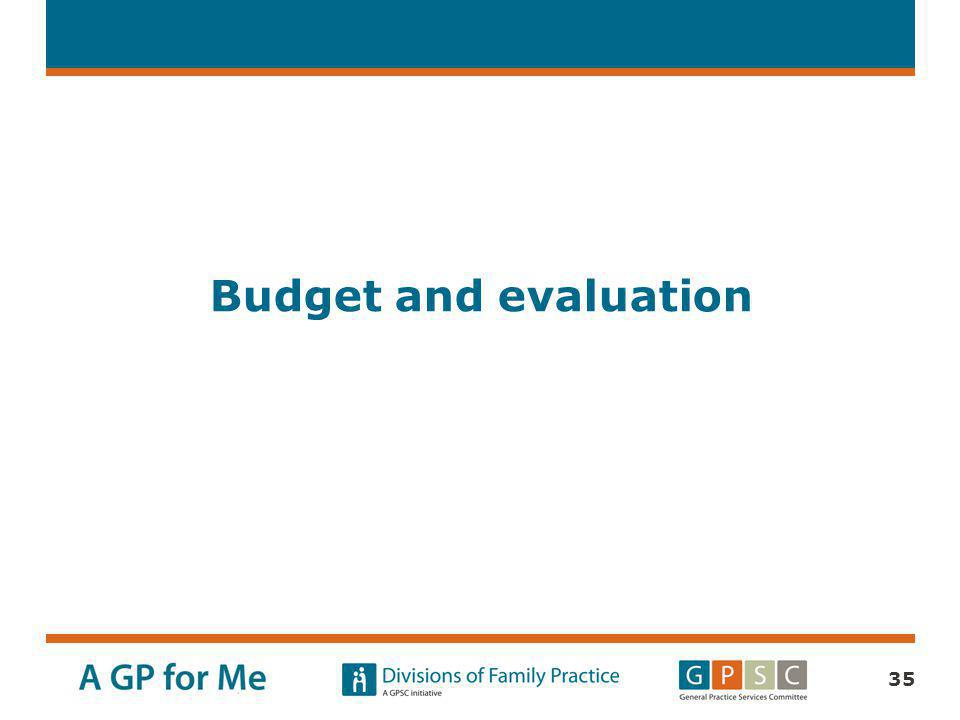 Budget and evaluation