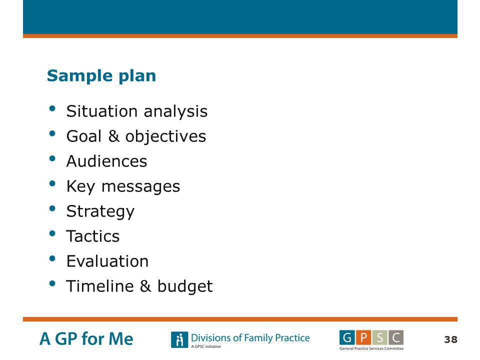 Sample plan Situation analysis. Goal & objectives. Audiences. Key messages. Strategy. Tactics.