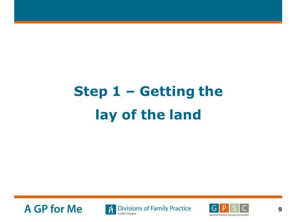 Step 1 – Getting the lay of the land