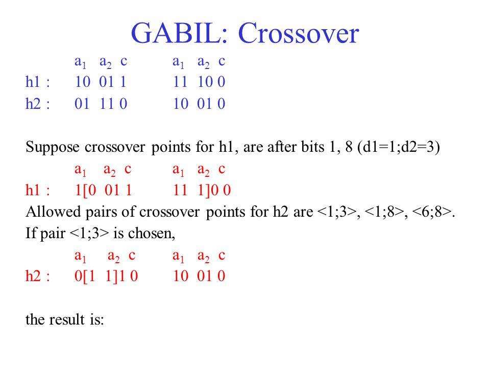 GABIL: Crossover a1 a2 c a1 a2 c h1 : 10 01 1 11 10 0
