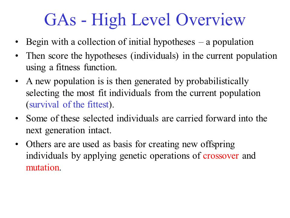 GAs - High Level Overview