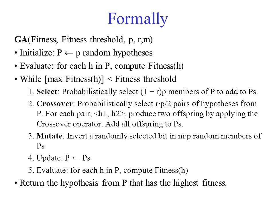 Formally GA(Fitness, Fitness threshold, p, r,m)