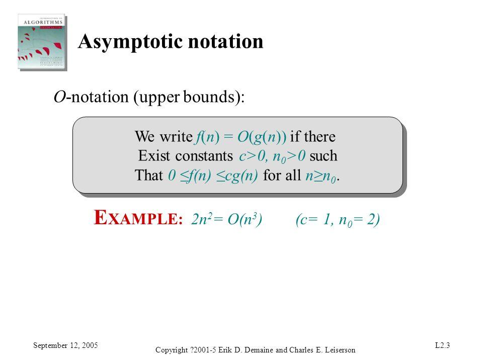 EXAMPLE: 2n2= O(n3) (c= 1, n0= 2)