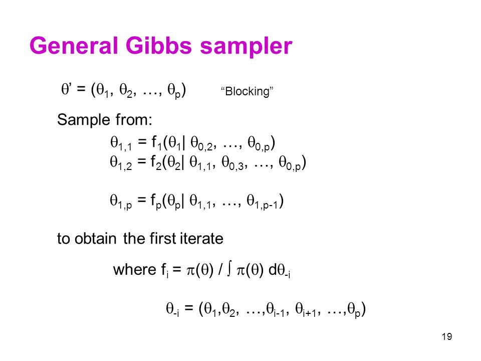 General Gibbs sampler 1,1 = f1(1| 0,2, …, 0,p)