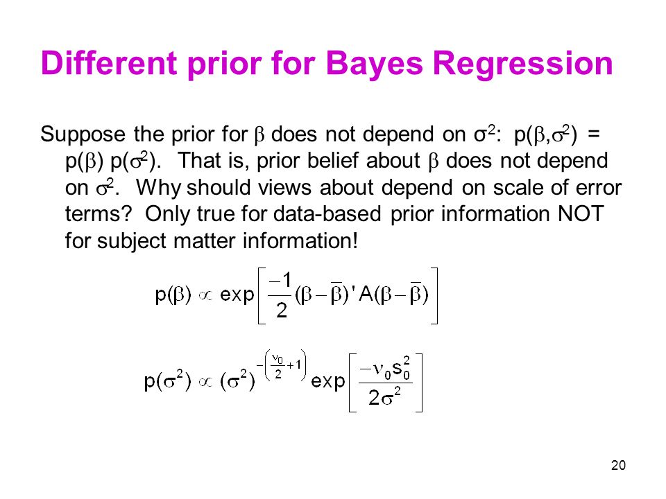 Different prior for Bayes Regression