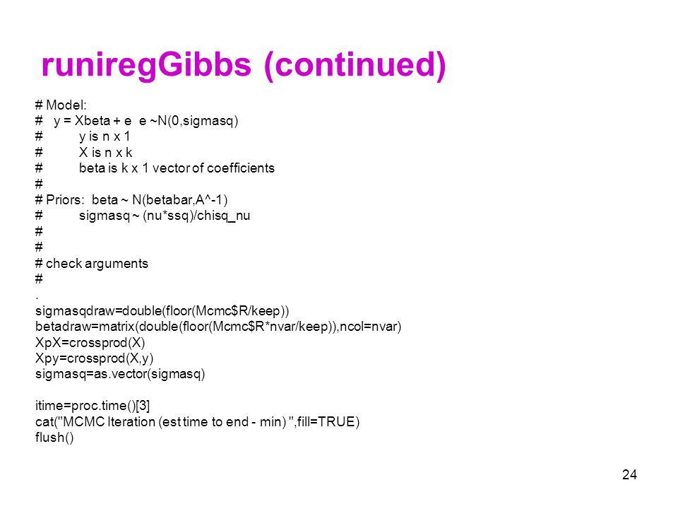 runiregGibbs (continued)