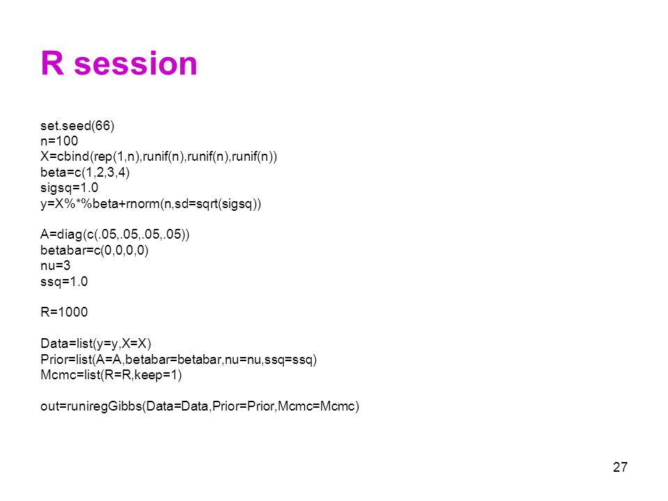 R session set.seed(66) n=100. X=cbind(rep(1,n),runif(n),runif(n),runif(n)) beta=c(1,2,3,4) sigsq=1.0.