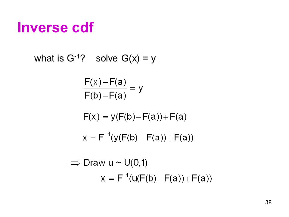 Inverse cdf what is G-1 solve G(x) = y