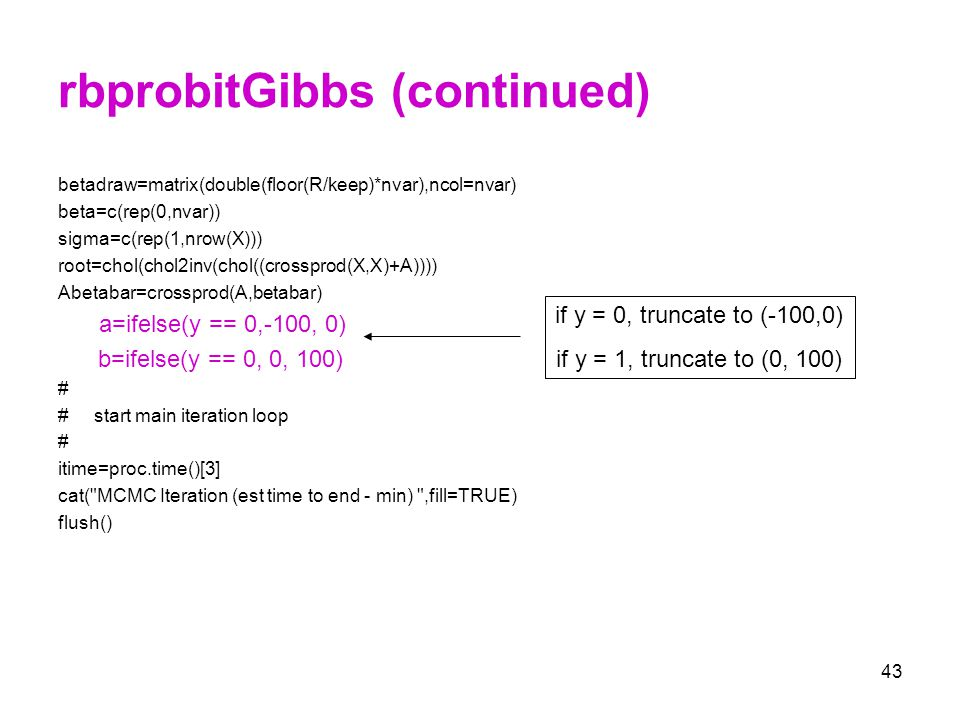 rbprobitGibbs (continued)