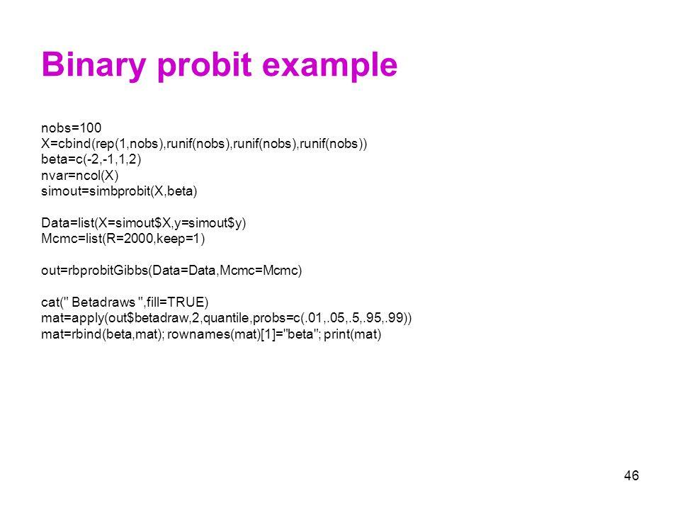 Binary probit example nobs=100
