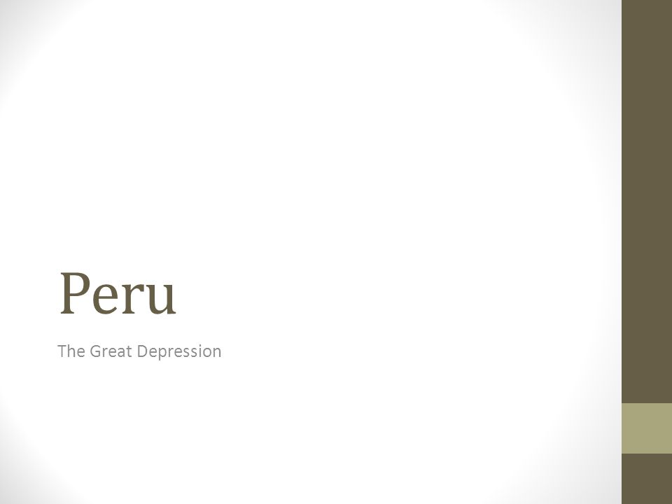 Peru The Great Depression