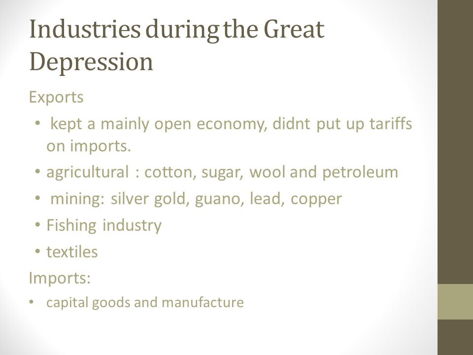 Industries during the Great Depression