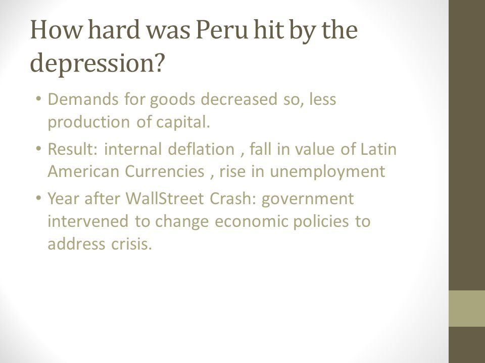 How hard was Peru hit by the depression
