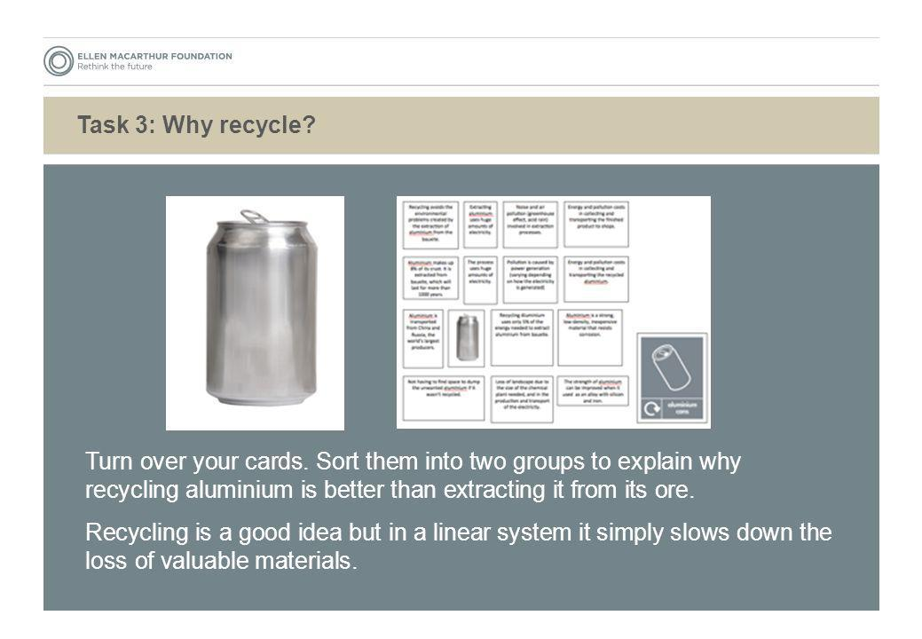 Task 3: Why recycle Turn over your cards. Sort them into two groups to explain why recycling aluminium is better than extracting it from its ore.