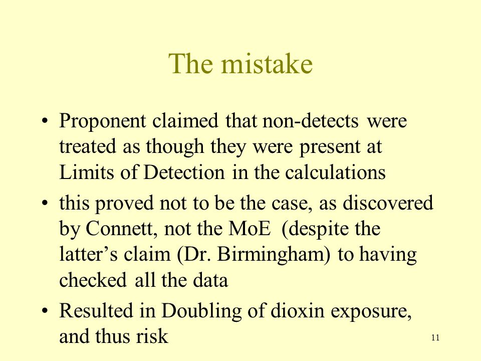 The mistake Proponent claimed that non-detects were treated as though they were present at Limits of Detection in the calculations.