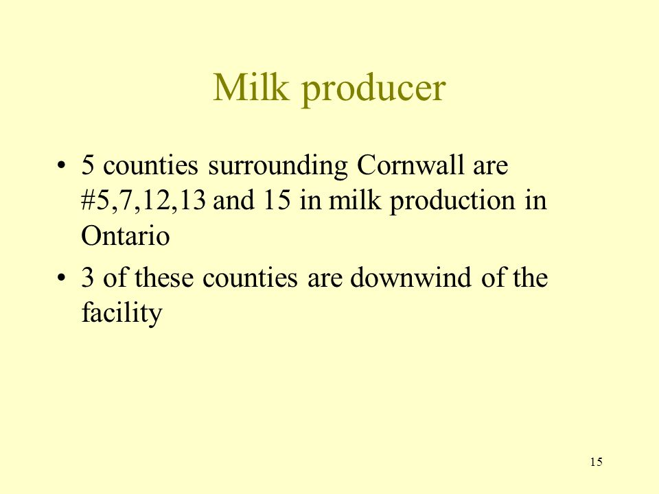 Milk producer 5 counties surrounding Cornwall are #5,7,12,13 and 15 in milk production in Ontario.