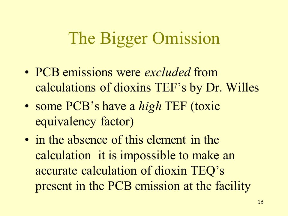 The Bigger Omission PCB emissions were excluded from calculations of dioxins TEF's by Dr. Willes.