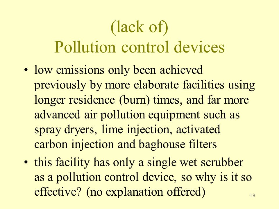 (lack of) Pollution control devices