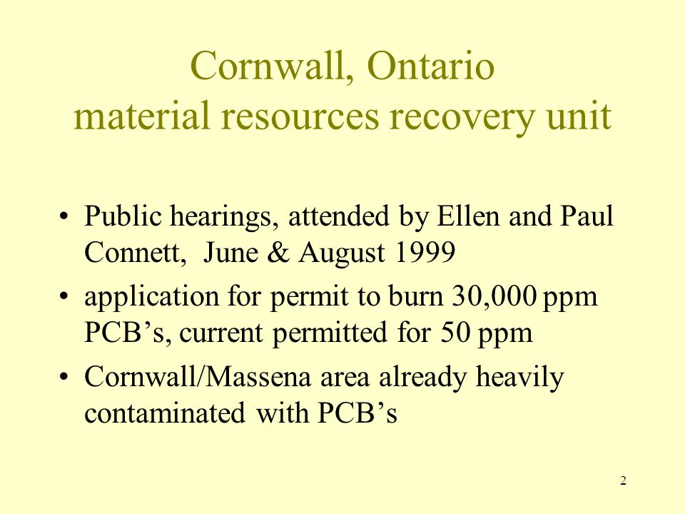 Cornwall, Ontario material resources recovery unit
