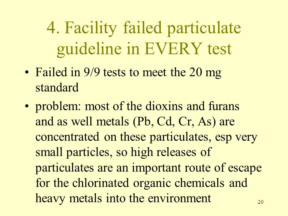 4. Facility failed particulate guideline in EVERY test