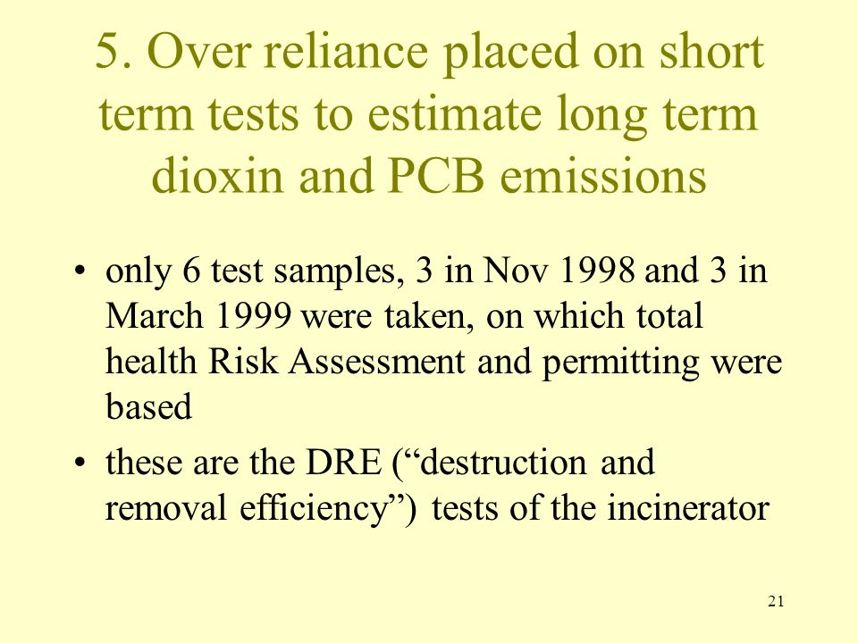 5. Over reliance placed on short term tests to estimate long term dioxin and PCB emissions